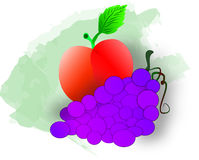 Apples and Grapes. Ripe red apple with purple grapes for a healthy snack Royalty Free Stock Photo