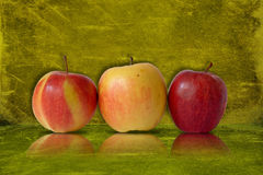 Apples on green background Stock Image
