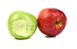 Apples. Green bitten and red. Stock Image