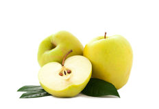 Apples with green leaves Royalty Free Stock Images