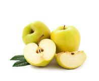 Apples with green leaves Stock Photos