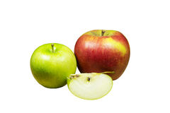 Apples. Green and red apples and half of apple isolated on a white background Royalty Free Stock Images