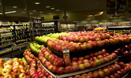 Apples in grocery store Stock Photo