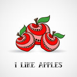 Apples 03. Hand-drawn red decorative apples. Vector illustration. 10 EPS Stock Images