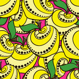 Apples 01. Hand-drawn yellow decorative apples on the red background. Pattern Stock Photography