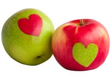 Apples with heart Royalty Free Stock Photos