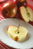 Apples Heart Healthy. Apple sliced in heart shape to depict the fruit's nutritional value Royalty Free Stock Photos