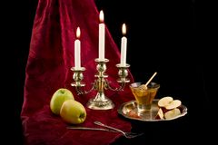 Apples and honey. The Jewish New Year's still-life with apples and honey Stock Photos