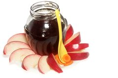 Apples and honey stock images