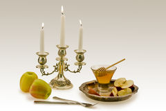 Apples and honey. The Jewish New Year's still-life with apples and honey Stock Photography