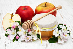 Apples with honey Stock Photography