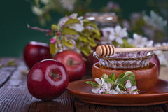Apples and honey Royalty Free Stock Photos