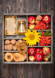 Apples, honey, nuts, flowers sunflowers Royalty Free Stock Photography