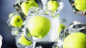 Apples in ice cubes. Food and broadcast concept. Realistic ice materials. 3d rendering. Apples in ice cubes. Food and broadcast concept. Realistic ice materials Royalty Free Stock Photo
