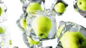 Apples in ice cubes. Food and broadcast concept. Realistic ice materials. 3d rendering. Apples in ice cubes. Food and broadcast concept. Realistic ice materials Stock Images