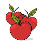 Apples illustration. Red apples drawing Stock Photography
