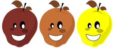 Isolated smiling apples cartoon Royalty Free Stock Image