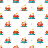 Apples and inscriptions pattern. Seamless pattern with apples and inscriptions vector background stock illustration
