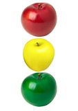 Apples isolated semaphore. Apple colors isolated, insulated, on a absolutely white background, traffic light, semaphore Stock Photo