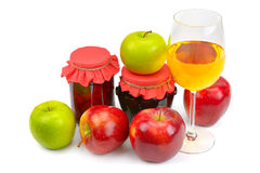 Apples, jam and juice Stock Photography