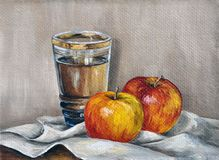 Apples and juice royalty free illustration