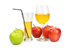 Apples and juice in a glass Royalty Free Stock Photography