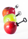 Apples with keys. Row of apples with keys Stock Image