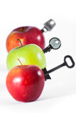 Apples with keys. Row of apples with keys Stock Photos