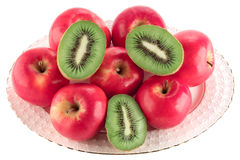 Apples and kiwi on a dish Royalty Free Stock Photo
