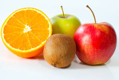 Apples, kiwi and orange Stock Photos