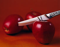 Apples and Knife Stock Images
