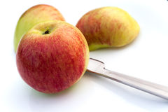 Apples and a knife Stock Image