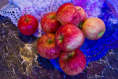 Apples on lace Stock Photo