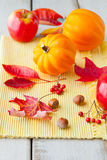 Apples, leaves and golden acorn  squash on wood table Stock Photography