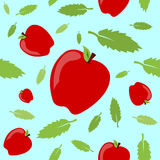 Apples and Leaves Seamless Pattern. A seamless pattern built from apples and leaves with a bright springtime vibe Stock Image
