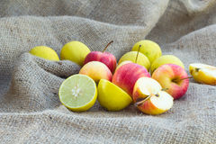 Apples and lemom lime Stock Images