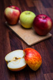 Apples on the line Royalty Free Stock Photography