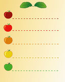 Apples list. Cute list with colorful appples Royalty Free Stock Image