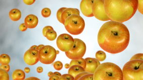 Apples. Looping animation of apples falling over gray background royalty free illustration