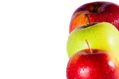 Apples macro in row. Coloured apples macro with water drops Royalty Free Stock Photography