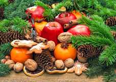 Apples, mandarin fruits, walnuts, cookies and spices. Retro style royalty free stock image