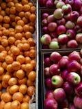Apples and Mandarins at Market Stall royalty free stock photography
