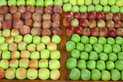 Apples market. Organic apples variety at market stall Stock Photo