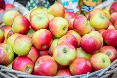 The apples at the market display stall. Apples at the market display stall royalty free stock image