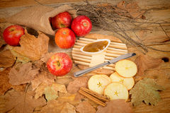 Apples and marmalade still life Stock Images