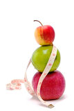 Apples and measure tape  Stock Images