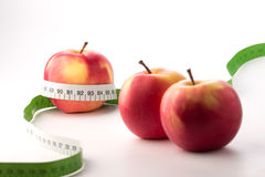 Apples with measure tape Stock Photos