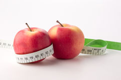 Apples with measure tape Stock Image