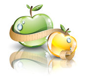 Apples with measuring line Royalty Free Stock Images