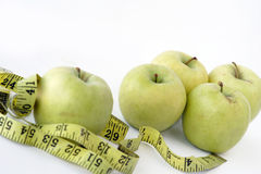 Apples & measuring tape Stock Photo